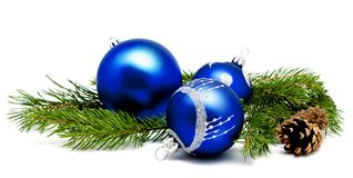 Christmas decoration blue balls with fir cones and fir tree bran Royalty Free Stock Photos