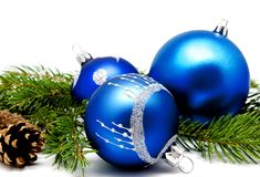 Christmas decoration blue balls with fir cones Stock Photo