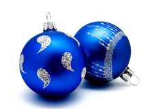 Christmas decoration blue balls  isolated on a white Royalty Free Stock Photo