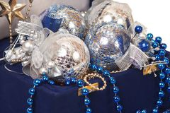 Christmas decoration in blue box Stock Photos