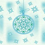 Christmas decoration in blue color with stylized patterned Christmas ball and stars Royalty Free Stock Photo
