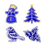Christmas decoration blue faiánse snowman tree bird holly vector. Christmas decoration blue faience vintage snowman tree bird holly vector illustration Stock Image