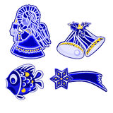 Christmas decoration blue  faience angel bells fish and comet vector Royalty Free Stock Image
