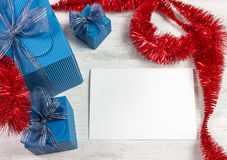 Christmas decoration with blue gift boxes Stock Photos