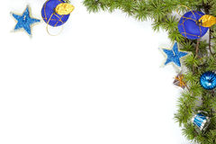Christmas decoration with blue ornamentals and stars  Royalty Free Stock Images