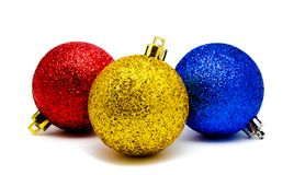 Christmas decoration blue red and yellow balls  isolated Stock Photo