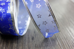 Christmas decoration Blue ribbon Royalty Free Stock Photo