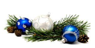 Christmas decoration blue and silver balls with fir cones Royalty Free Stock Photography