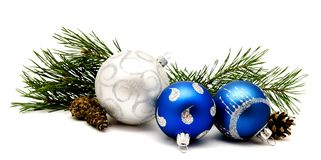 Christmas decoration blue and silver balls with fir cones Stock Photography