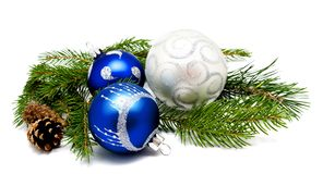 Christmas decoration blue and silver balls with fir cones and fi Royalty Free Stock Photo