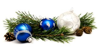 Christmas decoration blue and silver balls with fir cones Stock Image