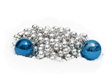 Christmas decoration blue and silver spheres Stock Image