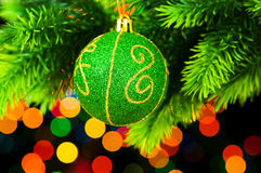 Christmas decoration and blurred lights Royalty Free Stock Images