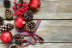 Christmas decoration on the boards Royalty Free Stock Photos