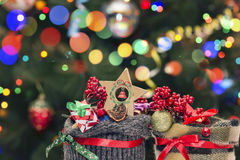 Christmas Decoration On Bokeh Background. For Your Christmas Card Or Poster Stock Photography