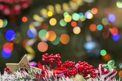 Christmas Decoration On Bokeh Background. For Your Christmas Card Or Poster Stock Photos