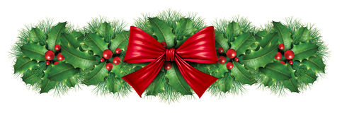 Christmas decoration border. With red silk bow with pine border ornamental holiday decoration for Holiday festive winter celebration on a white background Stock Photography
