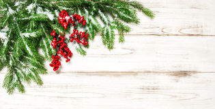 Christmas decoration border. Fir tree branch with red berries Stock Photo