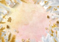 Christmas decoration border and gradient ink brush  Royalty Free Stock Photo