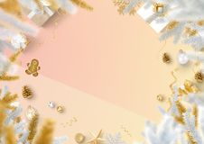 Christmas decoration border and gradient trendy paper  Stock Photography