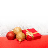 Christmas decoration. Christmas border with ornament and present Stock Image