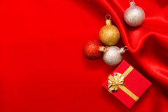 Christmas decoration. Christmas border with ornament and present Stock Images