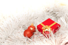 Christmas decoration. Christmas border with ornament and present Royalty Free Stock Photo
