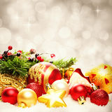 Christmas Decoration Border on Twinkled Snow Bokeh Background. For Christmas Card Stock Image