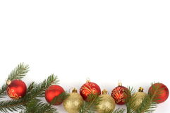 Christmas decoration. At the bottom of white background Royalty Free Stock Image