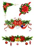 Christmas decoration with bow. Christmas decoration set with bow and holly and rowan berries golden bells vector Royalty Free Stock Photos