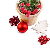 Christmas Decoration (bows, baubles, old pot)  isolated on a whi Royalty Free Stock Images