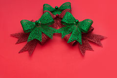 Christmas decoration bows red and green Stock Image