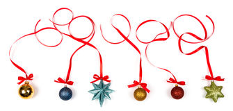 Christmas decoration with bows on white background Royalty Free Stock Photo