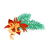 Christmas decoration branch with bow and poinsettia vector Royalty Free Stock Images