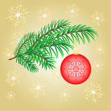 Christmas decoration branch with  red balls vector. Christmas decoration branch with  red balls and snowflakes vector Royalty Free Stock Photo