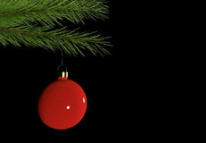 Christmas decoration branch with red bauble on black background with place for text. 3D rendered Royalty Free Stock Photo