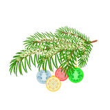 Christmas decoration branch and vintage baubles vector Stock Image