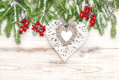 Christmas decoration on bright wooden background Stock Images