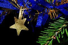 Christmas decoration bronze star Stock Photos