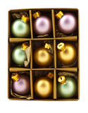 Christmas decoration bubles in box Royalty Free Stock Images