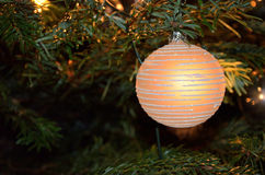 Christmas decoration bulb on tree Royalty Free Stock Photography