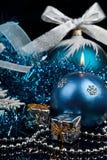 Christmas Decoration and burning candle Royalty Free Stock Image