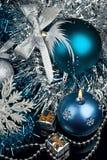 Christmas Decoration and burning candle Stock Photos
