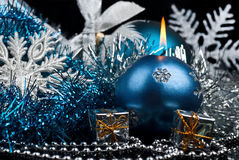 Christmas Decoration and burning candle Royalty Free Stock Images