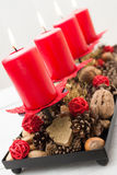 Christmas decoration with burning candles Royalty Free Stock Photography