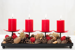 Christmas decoration with burning candles Stock Photography