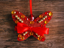Christmas decoration butterfly with crystals Royalty Free Stock Photos