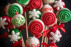 Christmas decoration on cake pops stock photos