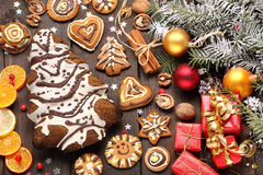 Christmas decoration with cake in the shape of Christmas tree Stock Photo