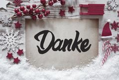 Christmas Decoration, Calligraphy Danke Means Thank You